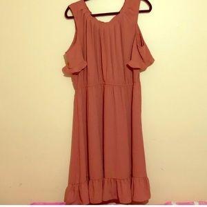 Blush rose cold shoulder dress